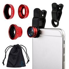 Red Clip On 180 Degrees Portable 3 in 1 Camera Lens Kit  FishEye  Wide Angle  Macro for Wiko Cink Five ** You can get additional details at the image link.