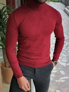 Red Turtleneck, Red Shirt, Wool Sweaters, Menswear, Turtle Neck, Slim, Men's Knitwear, Fitness, Casual