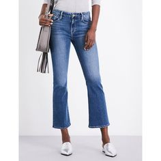 FRAME Le Crop Mini Boot bootcut mid-rise jeans (17.705 RUB) ❤ liked on Polyvore featuring jeans, white jeans, boot cut jeans, white bootcut jeans, stretch jeans and cropped bootcut jeans