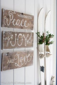 I love the sign and even more, I love the water skis! I have a vintage wood Cypress Gardens slalom ski and never even thought to use it for Christmas decor!!! by aftr