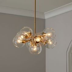 Staggered Glass Chandelier - 9-Light