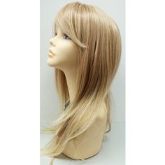 Long 21 Inch Straight Mixed Natural Blonde Lace Front Wig With Bangs... (70,400 KRW) ❤ liked on Polyvore featuring beauty products, haircare, hair styling tools, bath & beauty, black, hair care and wigs
