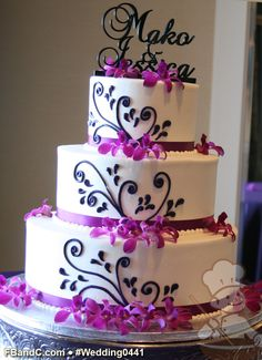 "Design W 0441 | Butter Cream Wedding Cake | 12""+9""+6"" | Serves 100 | Satin Ribbon, butter cream scroll piping, fresh Flowers | Standard Price"