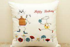 Embroidered cushion. Cat and mouse funny cushion.