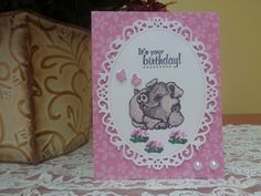 Whimsical smiling pig / butterfly birthday card by LuvinItCREATIONS on Etsy