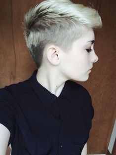 half buzzcut / shaved short hair