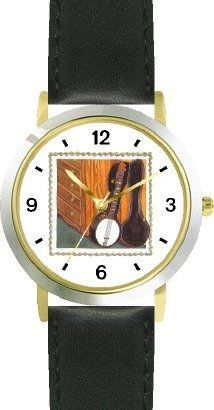 Banjo in Open Case Leaning against Bureau or Dresser - from Hush Little Baby by Artist: Sylvia Long - WATCHBUDDY® DELUXE TWO-TONE THEME WATCH - Arabic Numbers - Black Leather Strap-Size-Children's Size-Small ( Boy's Size & Girl's Size ) WatchBuddy. $49.95. Save 38%!