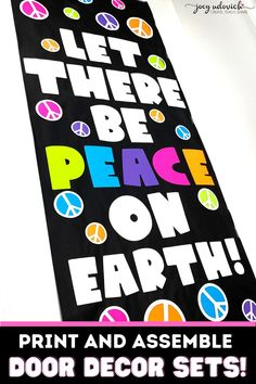 Inspire your students to strive for peace with this fun and whimsical Let There Be Peace on Earth classroom door decor set. Perfect for a bulletin board or hallway display too. This bright colored display will send a positive message to your elementary, middle school or high school students. Everything you need is ready to print, cut and post. Includes instructions for recreating this fun and positive display. #ClassroomDecor #DoorDecor #JoeyUdovich Bulletin Board Display, Bulletin Boards, Hallway Displays, Board Decoration, To Strive, Classroom Door, School Themes, Peace On Earth, Classroom Inspiration