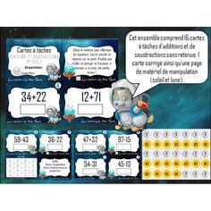 Cartes à tâches +/- sans retenue Ainsi, Voici, Moon, Sun, Presentation Cards, Card Kit, Children, Everything
