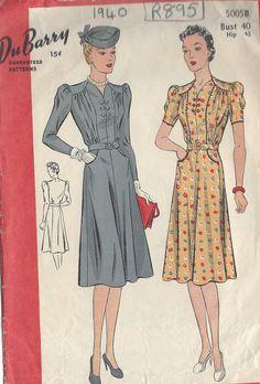 Patron De Couture Vintage Années 1940 Robe (R895) Par Du Barry