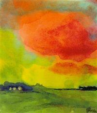 Moorland (Red Cloud, Farm) by Emil Nolde Marschlandschaft (Rote Wolke, Bauernhof) von Emil Nolde Moorland (Red Cloud, Farm) by Emil Nolde Emil Nolde, Cloud Farm, Red Cloud, Clouds, Fine Art, Landscape, Painting, School Outfits, Expressionism