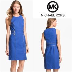 """NWT Michael Kors Blue Zip Trim Sheath Dress SZ.10 B1-10-SGW8 - Shiny zippers give this MICHAEL Michael Kors dress a sleek sensibility. Decorative logo zippers at front; Sleeveless; High neckline; Back zipper; Sheath silhouette; Hits above knee; Lined - open zipper teeth trace the figure-flattering vertical seams of a sleek sheath with more zipper detail at the waistband. Hidden back-zip closure. Fully lined. Cotton/spandex; Color: urban blue / Approx. Measurement:  Dress Size 10; Bust 14""""…"""