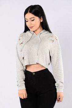 - Available in Heather Grey and Mauve - Cropped Hoodie - Drawstring - Long Sleeve - Distressed Ripped Detail - Loose Fit - 70% Cotton 30% Polyester