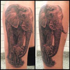 Son with parent Elephant.