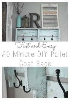 Fast and Easy 20 Minute DIY Pallet Coat Rack! Click to see the FULL tutorial!