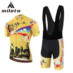 Miloto Pro Cycling Clothing Breathable Gel Pad Racing Jersey Sets Ropa Ciclismo Short Sleeve Team Cycling Jersey set conjunto