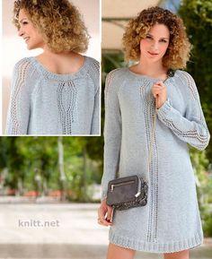 Вязаное спицами тонкое ажурное платье