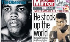 In memory of Muhammad Ali: The Observer, left, and the Sunday Mirror of 5 June 2016