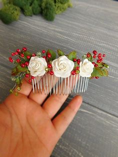 Bridal hair comb Wedding headpiece Roses hair comb White red