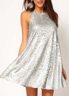Sparkly Silver Sequins Decoration Tank Dress