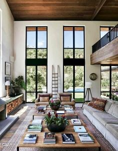Black windows - no trim Wood ceiling. Very modern - prefer a mix of industrial/rustic/modern