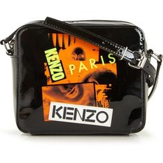 Kenzo Collage Print Mini Cross-Body Camera Bag (6.472.490 VND) ❤ liked on Polyvore featuring bags, handbags, shoulder bags, black, crossbody purses, man bag, purse crossbody, shoulder strap bags and shoulder handbags