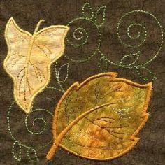 - Applique Leaf Quilt Square - Threads of Time Embroidery Machine Applique, Wool Applique, Applique Quilts, Applique Designs, Quilting Designs, Machine Embroidery Designs, Fall Quilts, Tree Quilt, Sewing Appliques