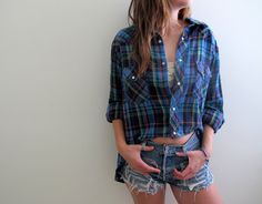 Hi Low Plaid Shirt Flannel Womens High Lo Cropped Crop Top Blue Tunic Button Up Down Grunge Size Large Baggie Oversized Western