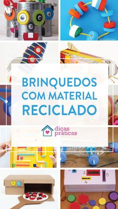 Brinquedos com material reciclado - Dicas Práticas Diy Toys, Toy Chest, Activities For Kids, Recycling, Arts And Crafts, Kids Rugs, Scrapbook, Storage, Ideas