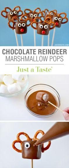 Chocolate Reindeer Marshmallow Pops recipe via justataste.com