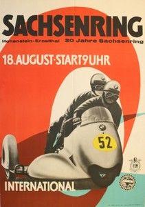 Original vintage poster for BMW International Motorcycle Racing Sachsenring 1957