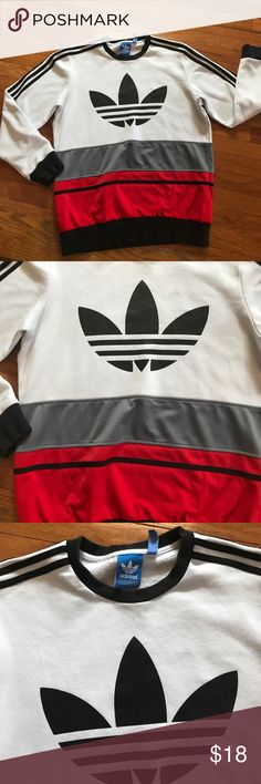 Adidas Men's Sweatshirt Adidas Large Men's Sweatshirt in White, Gray, and Red. In good condition. adidas Shirts Sweatshirts & Hoodies