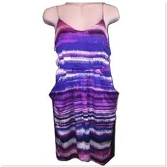 Collective Concepts Sz M Multi Color Lined Dress Collective concepts Purple black pink multicolor spaghetti straps adjustable straps front pocket lined scoop neck length 24  size medium  bust 34-36 Collective Concepts Dresses