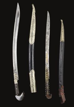 TWO IMORTANT OTTOMAN YATAGHANS, TURKEY, 19TH CENTURY. The first  (78cm); the second (69.7cm) Swords And Daggers, Knives And Swords, Indian Sword, Arm Armor, Fantasy Weapons, Ottoman Empire, Dragon Art, Guns And Ammo, Medieval Fantasy