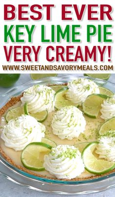 Homemade Key Lime Pie recipe from scratch with lots of lime zest and fresh lime juice for a fresh citrusy flavor with the most amazing creamy texture. recipes Homemade Key Lime Pie Recipe (VIDEO) - Sweet and Savory Meals Key Lime Pie Recipe From Scratch, Key Lime Pie Recipe Video, Homemade Key Lime Pie Recipe, Key Lime Pie Recipe Pioneer Woman, Key West Key Lime Pie Recipe, Creamy Key Lime Pie Recipe, Key Lime Pie Recipe No Bake, Key Lime Desserts, Köstliche Desserts