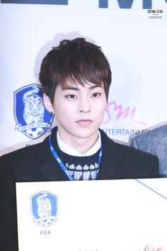 Xiumin - 141211 SM Entertainment and Korea Football Association Memorandum of Understanding signing ceremony Credit: Xiuting Star. (에스엠 대한축구협회 업무협약 양해각서 체결식)