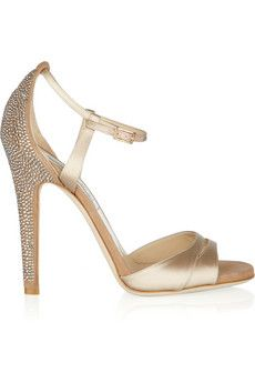 Jimmy Choo's pale-gold satin and suede 'Tema' sandals  {jewelry for your footsies}