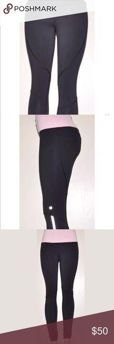 Lululemon leggings! Excellent condition size 8 Lululemon leggings. Excellent condition. Size 8. Pink waistband. Full length leggings. No fading, no snags no piling.  Block it pocket. lululemon athletica Pants Leggings
