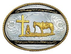 (MS6135-731BK) Barbed Edge on Black Western Belt Buckle - Praying Cowboy