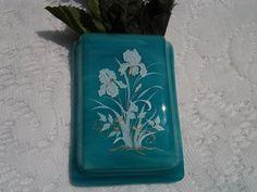 Λιωμένο γυαλί Pocket Βάζο, Τυρκουάζ Aqua Art Glass Wall Pocket Βάζο με Ίριδα