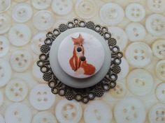 Light green fox inspired layered button brooch by maxollieandme