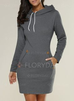 Dresses - $39.99 - Polyester Solid Long Sleeve Above Knee Casual Dresses (1955120212)