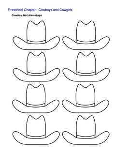 Cowboy Hat Nametags Sheet - Eight Hat Oulines