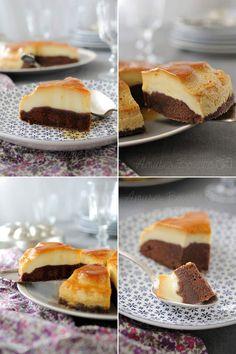 LE GÂTEAU IMPOSSIBLE AU CARAMEL - Pour le caramel : 80 g de sucre - Pour le gâteau au chocolat : 2 œufs 70 g de sucre - 80 ml de lait - 120 g de farine - 2 cuil. à soupe de cacao - 1 cuil. à café de levure chimique - 70 g de beurre Fondu - Pour le flan : 3 œufs - 20 cl de lait concentré sucré - 40 cl de lait 1 gousse de vanille (ou sucre vanillé) - PEU ETRE JUSTE UN PEU TROP SUCREE A MON GOUT