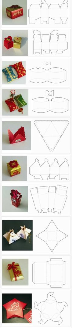 Beautiful gift boxes - Paper box structure templates (die-lines) Diy Gift Box, Diy Gifts, Wrapping Ideas, Gift Wrapping, Papier Diy, Diy And Crafts, Paper Crafts, Foam Crafts, Beautiful Gift Boxes