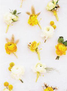 Yellow and white boutonniere style. Photo: Ryan Ray