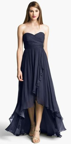 High-low dress with ruffle hem from Jenny Yoo. In navy, black and slate.