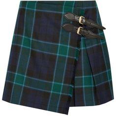 Burberry Brit Pleated tartan wool mini skirt (£325) ❤ liked on Polyvore featuring skirts, mini skirts, bottoms, burberry, emerald, wool mini skirt, tartan mini skirt, wrap mini skirt, short plaid mini skirt and tartan miniskirts