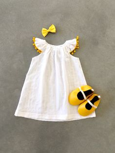 Handmade Organic Pompom Dress by Sunny Afternoon on Etsy - semi formal dresses, womans dress, floor length dresses *ad Outfits Niños, Baby Outfits, Baby Girl Fashion, Kids Fashion, Little Girl Dresses, Girls Dresses, Formal Dresses, Evening Dresses, Baby Kids Clothes