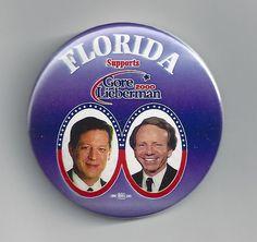 2000 Florida Supports Al Gore & Joe Lieberman campaign button pin hanging chad #Buttonpin